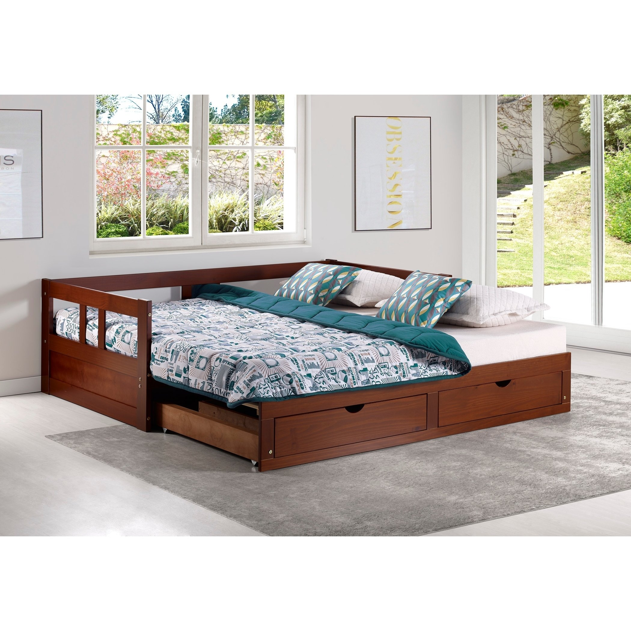 - Handys Twin To King Trundle Daybed With Storage Drawers, Chestnut