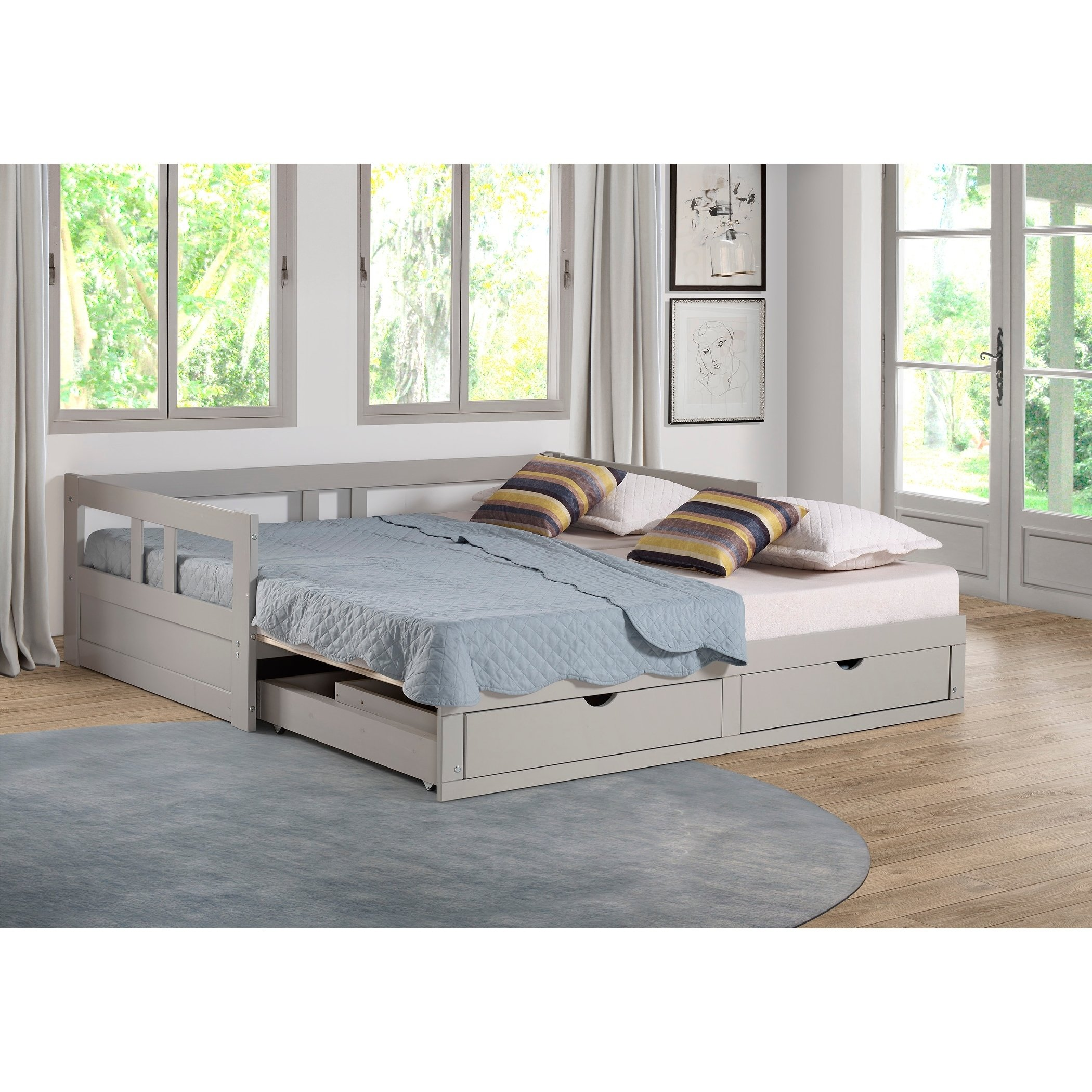 Bed With Trundle And Storage Drawers, La Salle Twin Captain S Bed With Trundle And Storage Drawers White