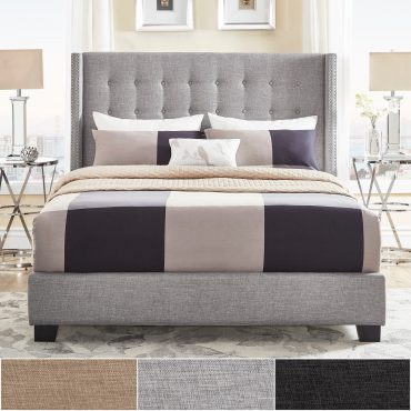 Melina-Tufted-Linen-Wingback-Bed-grey