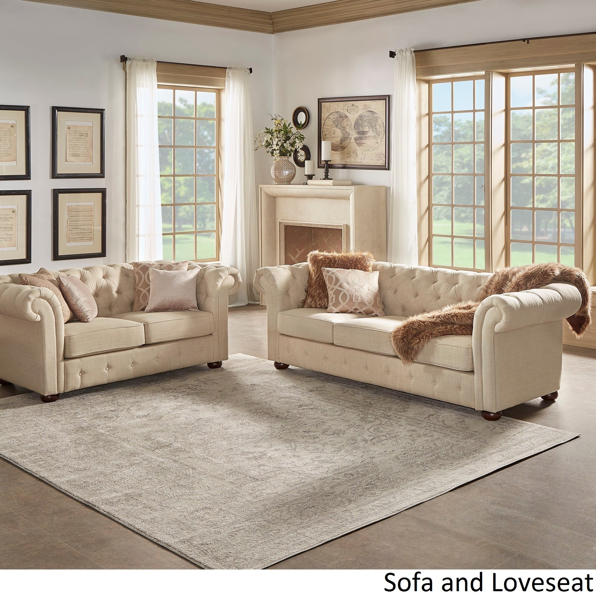 Knightsbridge Beige Fabric Button Tufted Chesterfield Sofa And Room