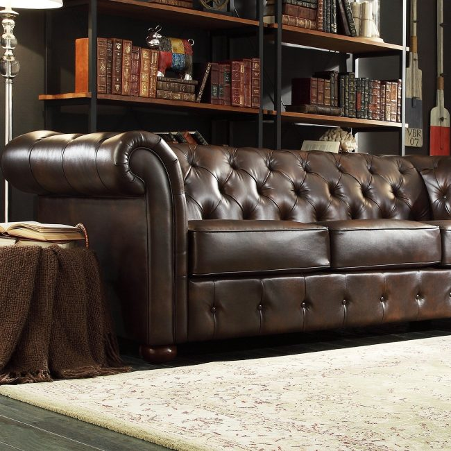 Enterprise Brown Bonded Leather Tufted Scroll Arm Sofa